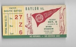1956-Oct-6-college-football-ticket-stub-Baylor-Bears-v-Maryland-Terrapins
