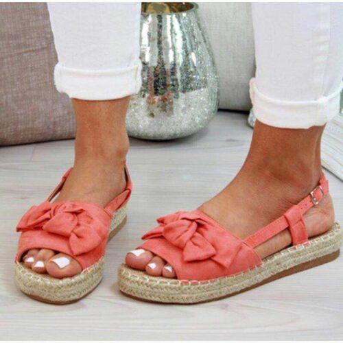Women/'s Bows Slingbacks Flatform Sandals Peep Toe Buckle Casual Shoes Summer