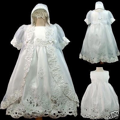 New Baby Toddler Girl Church Baptism Christening Formal Dress Gown White 12-30M