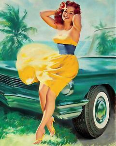 Retro Vintage Pin Up Girl Yellow Dress PINUP Canvas Art Print s   eBay 298b422e07dc