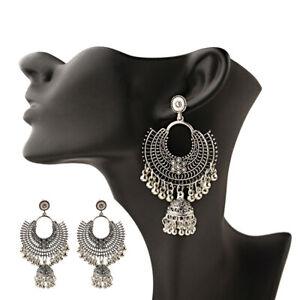 Bohemian-Silver-Tassel-Dangle-Drop-Jhumka-Ethnic-Gypsy-Earrings-Indian-Jewelry