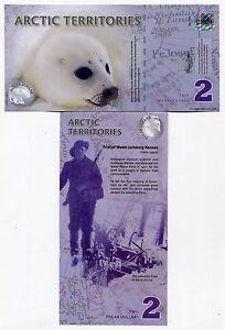 Seal animal banknote bill 2010 Arctic Territories 2 polar dollars