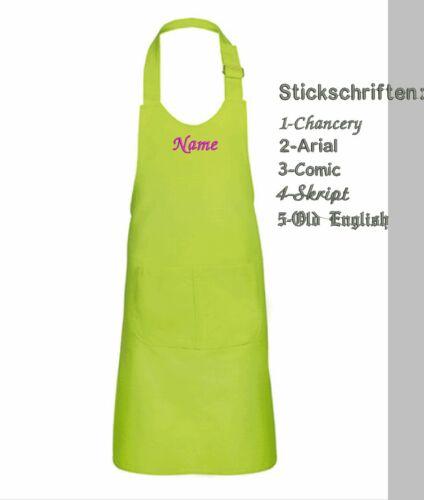 Kinderschürze Schürze individuell BESTICKT mit Namen Kochschürze personalisiert