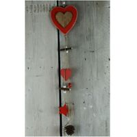 Shabby Rustic Nordic Red Heart & Cone Christmas Garland Hanging Decoration 73cm
