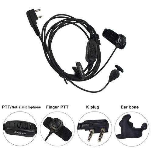BaoFeng Ear Hook Earpiece 2 Pin PTT with Mic Headset for UV
