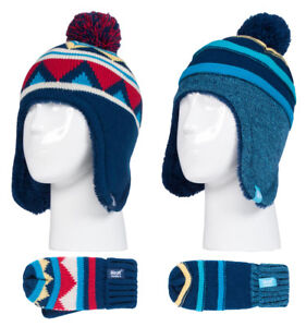 a4b0d7e8273db Heat Holders - Boys Thermal Winter Pom Pom Hat and Mittens Set with ...