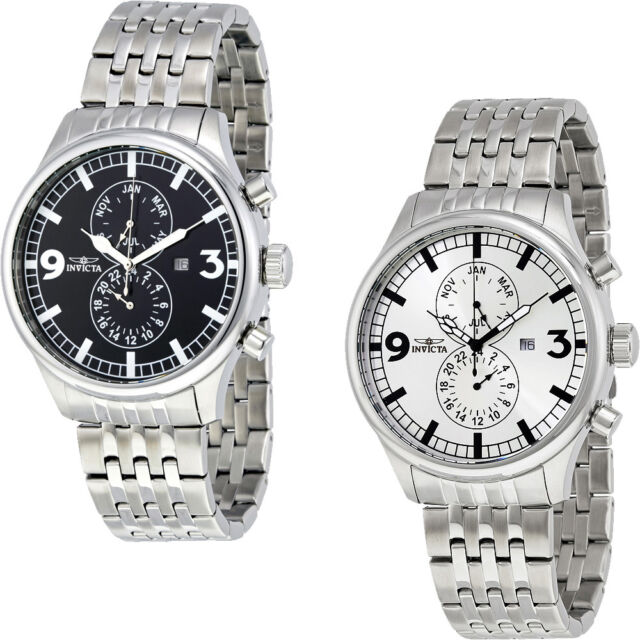 Invicta II Collection Stainless Steel Mens Watch   Black / Silver