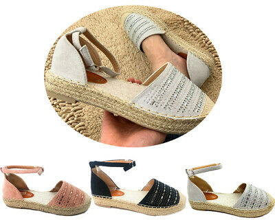 WOMENS SUMMER BEACH HOLIDAY ESPADRILLES SANDALS LADIES HEEL COMFY SHOES SIZE 3-8