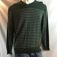 Bowen & Wright Green & Grey V-neck Long Sleeve Sweater Men's Size Large