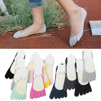 Soft Womens Summer No Show Five Finger Toe Socks Invisible Cotton Ankle Socks