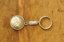 Ancient Greek Themed Keyring Key Chain - Spartan Shield 300 Silver Zamac Open L