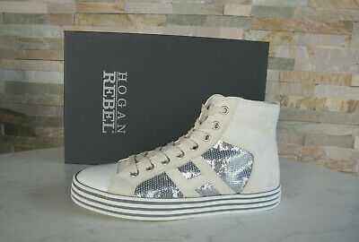 Hogan Rebel 35,5 High Sneakers Lace Up Shoes Patent Beige New ...