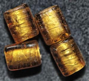 Ad7-03 Argent 6 diapositive de perles de verre rectangles 12x8 mm Or-Marron