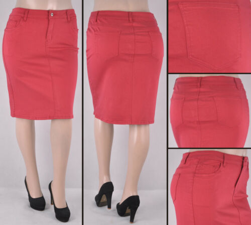 NWT Stretch Plus Sateen RED Basic Mid Length Skirt,size XL to 3XL #SG-77107X