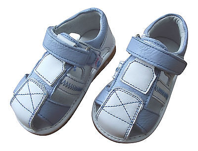 Boy's Infant Toddler Children's Squeaky Shoes Blue & White Real Leather Sandals