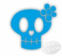 18 x Skull & Flower Stickers Car Window Wall Decals