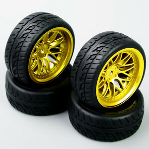 RC-4Pcs-Run-Flat-Tires-amp-Wheel-Rim-12mm-Hex-For-HSP-HPI-1-10-On-Road-Racing-Car