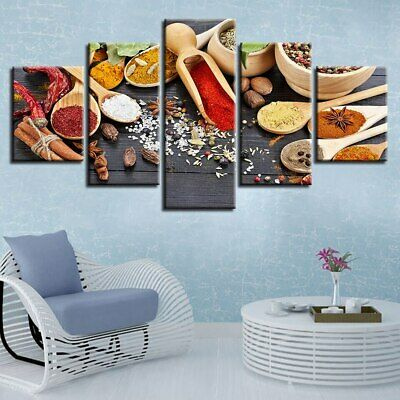 Healthy Spices Poster Herbs Food Wall Art Kitchen Home Decor 5 Pcs Canvas Print