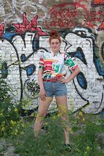 Damen Bluse 90er bunt True VINTAGE 90´s Fashion women blouse shoulderpads shirt