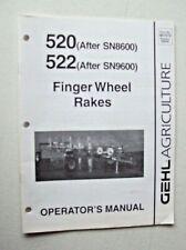 Original Gehl 520522 Finger Wheel Rakes Operators Manual