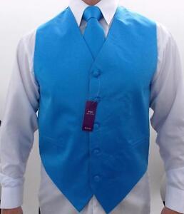 Men's Retro Suit Tuxedo 3 Pc Dress Vest Necktie Hanky Blue S,M,L,XL,2XL,3XL