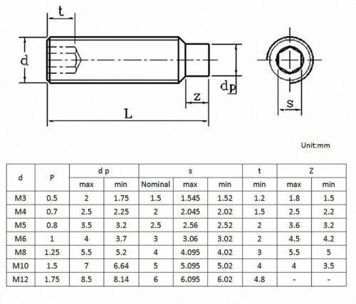M3//4//5//6//8//10 Gewindestifte Zapfen Edelstahl DIN 915 ISK Madenschrauben A2 V2A