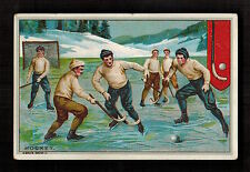 "CHOCOLAT MEURISSE ""STOCK CARD"" ICE HOCKEY 1900 Victorian Advertising Trade Card"