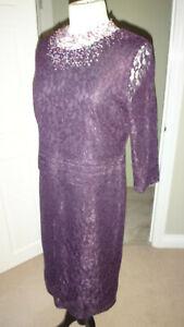 Kaliko-Purple-Lace-All-Over-Lined-Dress-Size-UK-14