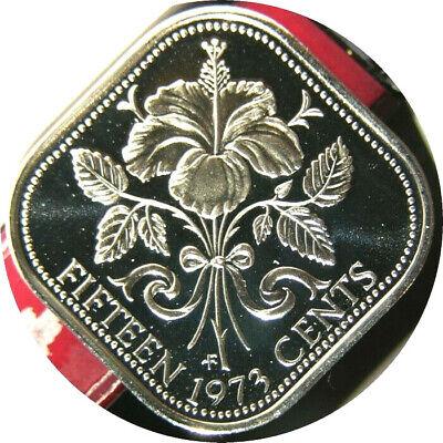 elf Bahamas 15 Cents 1974 Proof  Hibiscus  Flower