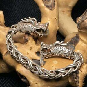 China-Old-Tibet-Silver-Carve-Pair-dragon-head-Bracelet