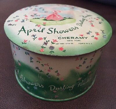 Dusting Powder Tin and Puff Cheramy April Showers Metal Talc Box Floral Canister Vanity Table Decor RARE Vintage 1940s Southern Belle Design