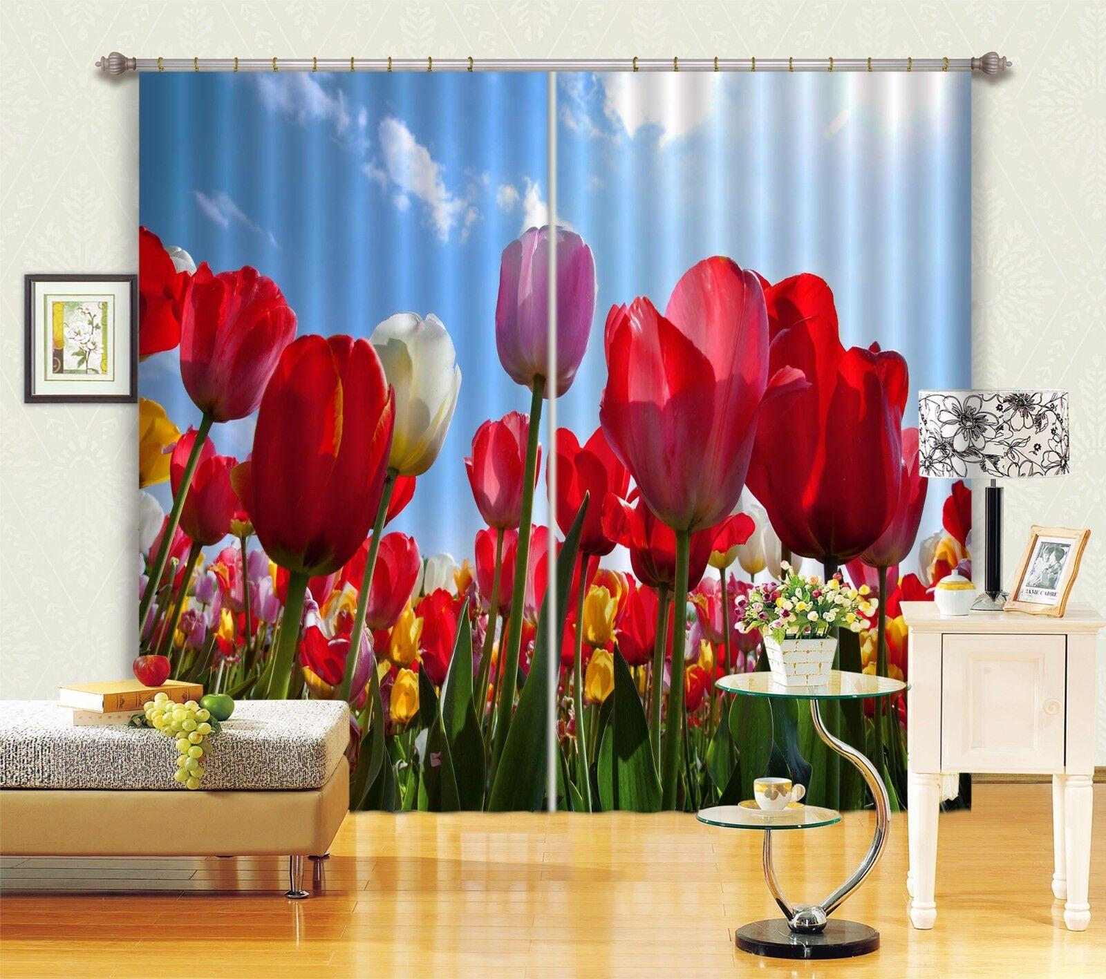Cortina De Foto 3D Color Tulipanes Blockout Impresión Cortinas De Tela Cortinas Ventana au