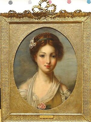 Fine Large 18th Century French Portrait of A Girl Antique Oil Painting GREUZE
