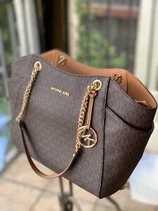Details about MICHAEL KORS Medium Large PVC Leather Chain Shoulder Tote Bag Handbag Brown Gold