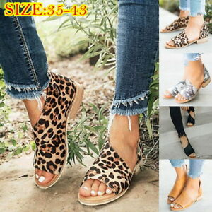 Fashion-Women-Peep-Toe-Low-Heel-Sandals-Ladies-Summer-Casual-Loafer-Shoes-US