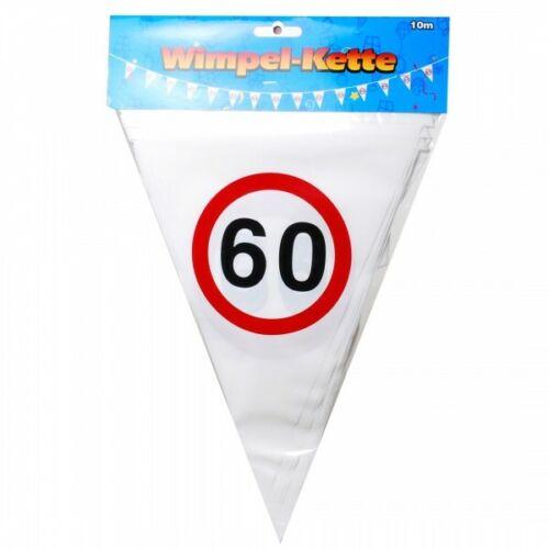 Geburtstag Wimpel Girlande 60 Jahre Verkehrsschild Party Deko Happy Birthday 0.