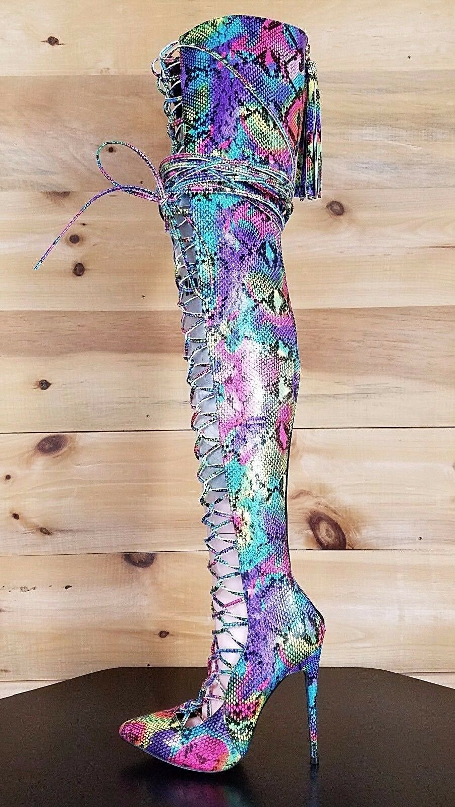 Nelly B Bernal Jayda Rainbow Snake Lace Up OTK Plus Size Boot Limited Edition