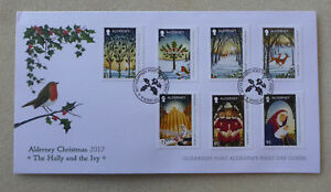 2017-ALDERNEY-CHRISTMAS-HOLLY-amp-THE-IVY-SET-OF-7-STAMPS-FDC-FIRST-DAY-COVER