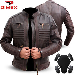 Genuine-Leather-Motorbike-Motorcycle-Jacket-Biker-With-CE-Armour-Brown-Dimex