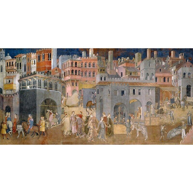 Quadro su del Pannello in Legno MDF Ambrogio Lorenzetti Effetti del su Buon Governo in a2fedc