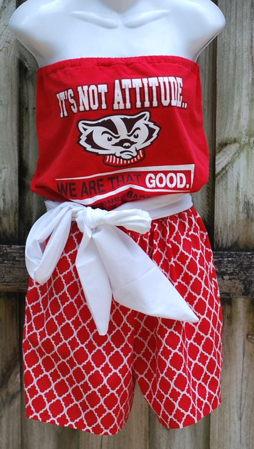University of Wisconsin Badgers Game Day Romper, Jumper, Jumpsuit With Sash M