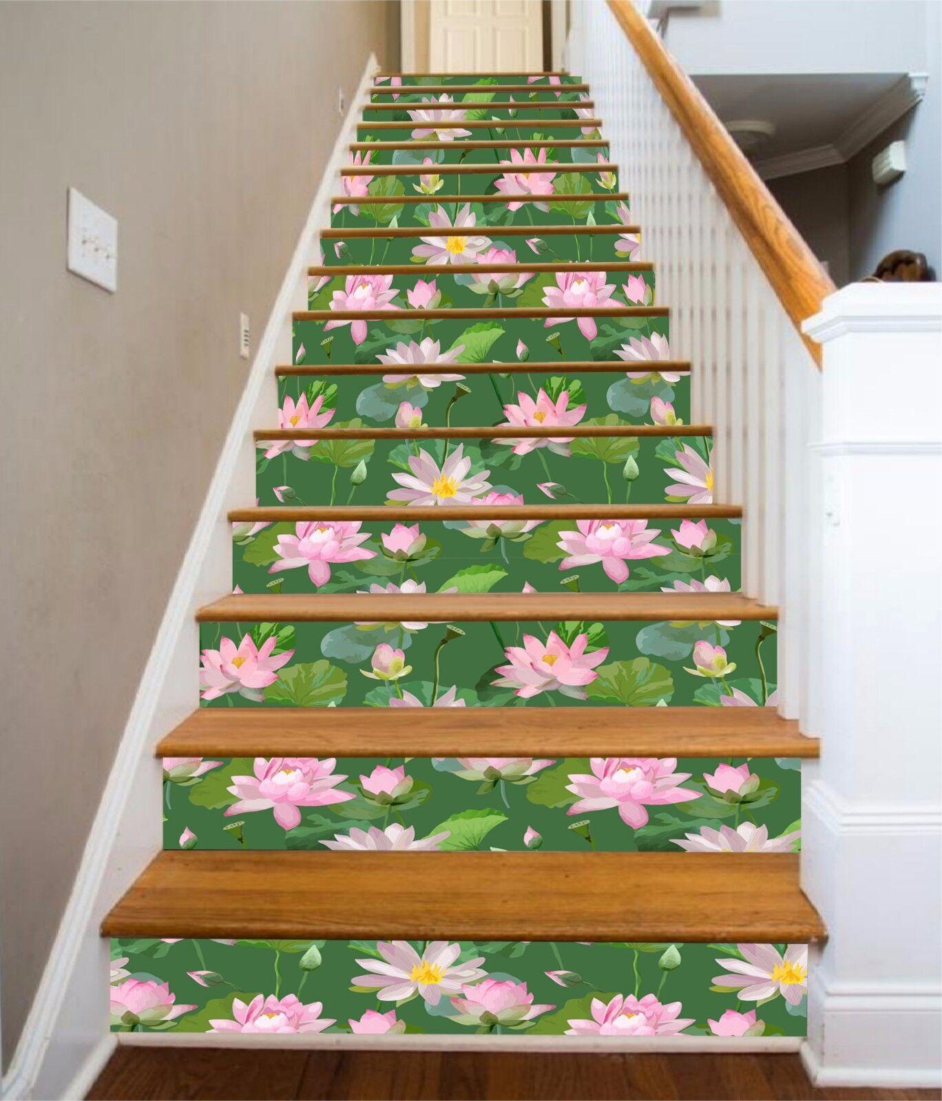3D rose Lotus Stair Risers Decoration Photo Mural Vinyl Decal Wallpaper AU