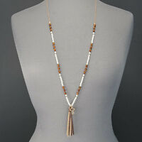 Long Gold Chain Pearl Wood Seed Bead Open Clover Tassel Pendant Necklace