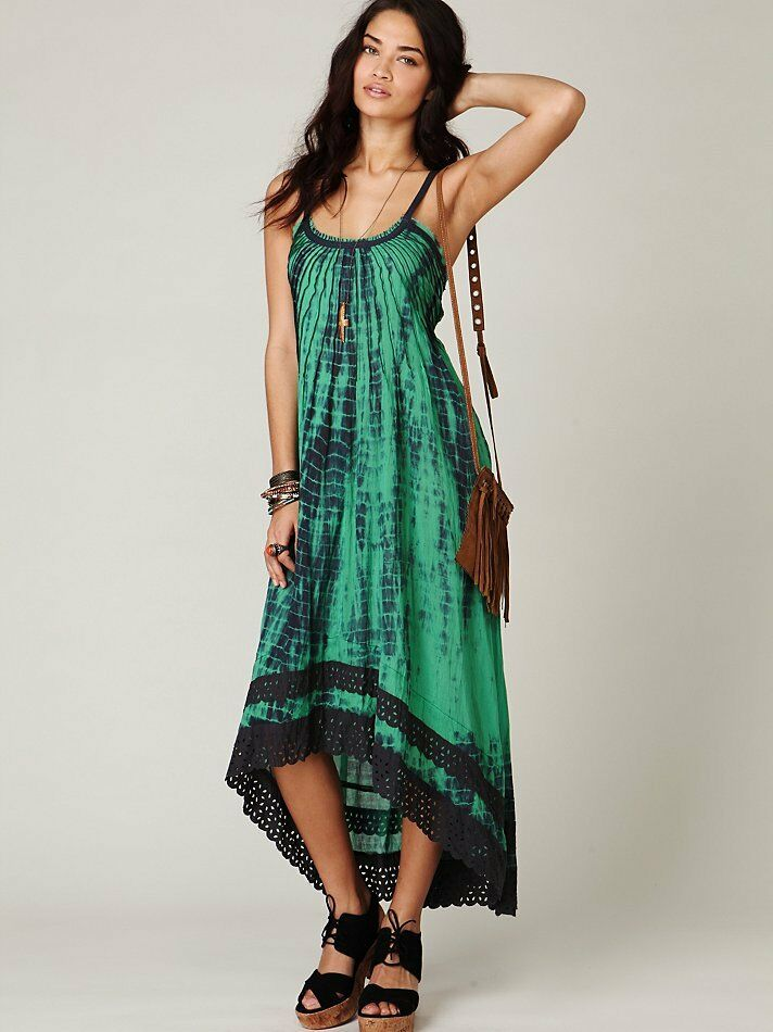 647b34d4d77 Free People Green Tie Dye Sunburst Boho Hippie Festival Maxi Dress XS Rare