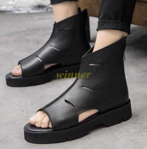 High Top Ankle avvio avvio avvio Sandal Roma Open Toe Hollow Out Real Leather Uomo Punk scarpe 135a03