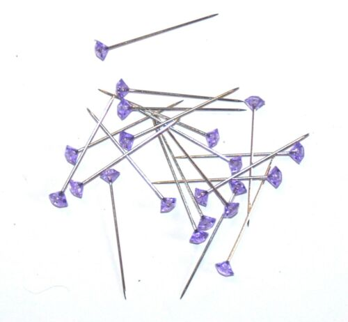 BUTTON HOLES ETC 20 x 37mm PURPLE DIAMANTE PINS FOR CORSAGE/'S