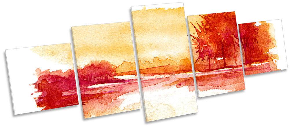 Sunset Landscape Orange rot Framed CANVAS PRINT PRINT PRINT Five Panel Wall Art 4a8827
