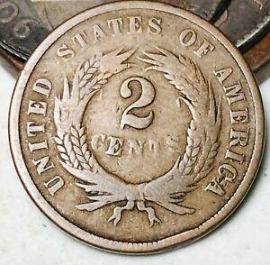 1864 Two Cent Piece 2C Ungraded Choice Civil War Date Good US Copper Coin CC5465