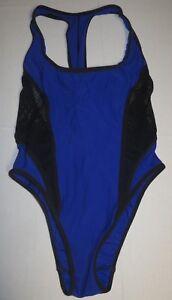 Womens-Speedo-Mesh-One-Piece-Swimsuit-Racerback-Bathing-Suit-Sz-8-Blue-Black