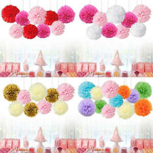 Details About 9x Mixed Tissue Paper Pompom Pom Poms Hanging Garland Wedding Party Diy Decor Uk